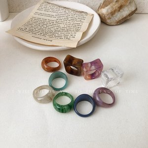 DHL-Rings Retro Resin Middle Index Finger Jewelry Nine Colors Blurred Fashion Accessories Forest Finger Rings Vintage