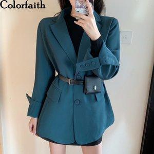 Colorfaith New Automne bouton d'hiver de femme Blazers poches Vestes formelles entaillé vêtement Angleterre style Hauts JK6527 201006