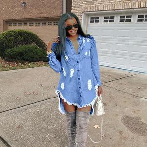 2020 Womens Hiphop Denim Blue Jean Camisa Vestido Primavera Outono Rasgado Jeans Borla Designer Vestidos
