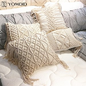 Yomdid Boho Cuscino Cover Macrame Cuscini Caso Boemia Modello geometrico Filo di cotone Tazzine Tarchi Pillowcase Divano Throw Home Decor T200624