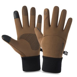 Monochrome winter monochrome screen touch gloves finger full set of anti slip waterproof pipe motorcycle gloves hot bicycle gloves