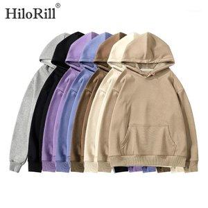 HILORILL 2020 Fleece Hoodies moletom mulheres outono inverno algodão sólido moletom com capuz casual jumper solto