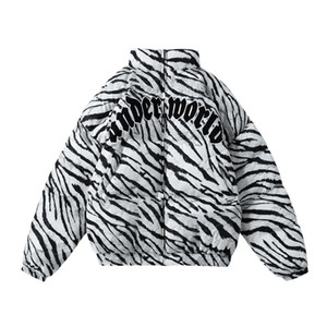 Unique Mens Thick Warm Jackets Streetwear Hip Hop Women Casual Cotton Padded Zebra Stripe Zipper Parka Coats Winter Harajuku Tops Outwear