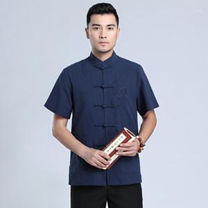 Donanma Mavi Tai Chi Üniforma Geleneksel Çince Ejderha Giyim Tang Takım Top Yaz Pamuk Keten Gömlek Erkekler M-XXXL1