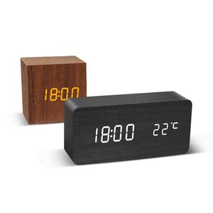 LED Wooden Alarm Clock Watch Table Voice Control Digital Wood Electronic Desktop USB AAA Powered Clocks Table Decor