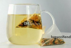 Fashion Hot 100 Pcs Lot 5.8*7cm Pyramid Tea Bags Filters Nylon TeaBag Single String With Label Transparent Empty Tea Bags