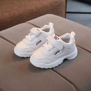JUSTSL Automne Nouveaux Garçons Filles Chaussures de sport Blancs Sneakers pour enfants Sneakers Enfants Cheveux de course confortables antidérapants 201128