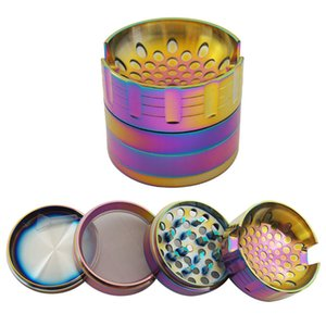 Concave Surface Smoking Herb Grinder 4 Layer 62mm Zinc Alloy Rainbow Tobacco Herbal Grinders for Dry Herb Vaporizer With Mobile phone holder