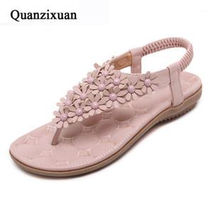 Quanzixuan Frauen Sandalen Wohnungen Schuhe Blumen Böhmische Frauen Sommerschuhe Strand Sandalen Flip Flops Große Größe 40 411