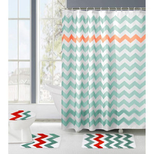 4PCS Ripple Pattern Non Slip Polyester Waterproof Toilet Seat Cover and Rug + Shower Curtain Bathroom Set Decor1