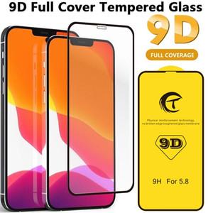 9h 9D cola cheia de vidro temperado para iphone 6 7 8 11 12 x XR XS Max Curvo tela protetor de tela completa filme 9d borda