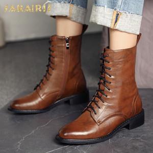 Brand New Big Size 43 Top Quality Square Heels Fashion Shoelaces Winter Shoes Women Vintage Motorcycles Boots Female