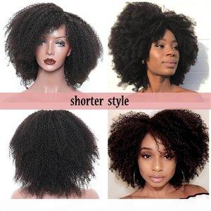 Free Part Afro Kinky Кудрявый парик Braizlian Полные кружевные парики 180 плотность Безлительного короткого синтетического парика Синтетический парик сбросил для чернокожих женщин