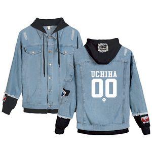Frauen Männer Denimjacke Anime Naruto Jeans Hoodies Uchiha Hatake Uzumaki Clan Fake Zwei Teile Steampunk Hip Hop Sweatshirt