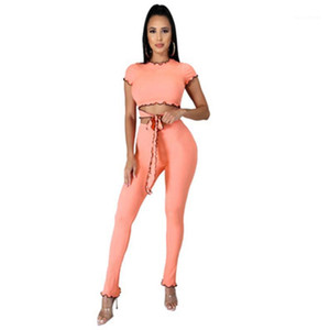 New Casual Slim Tracksuits Womens Solid Color Skinny Sets Fashion Trend Navel Short Sleeve Round Neck Short Tops Pants Suits Female Spring
