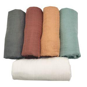 Bamboo Muslin Swaddle Blanket recém-nascido fraldas Acessórios suave gavetas Enrole o fundamento do bebê Toalha de banho cor sólida de LASHGHG 1016