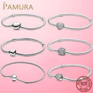 La vendita superiore 6 stili 925 Bracciale Sterling Silver cuore della catena del serpente per Donna attillata monili originali regalo Perle Pamura fascino