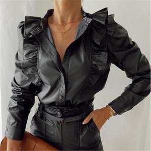 Vintage Black Tunic Spring Autumn Donne PU Leather Ruffles Manica lunga Camicie Moda Sexy V Collo Pulsanti Blusa Camicetta Top Party Wear