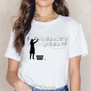 Novelty Music Note Black Cat animal Print tshirt women harajuku kawaii clothes summer top female t shirt tumblr graphic tees
