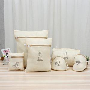 6 pcs set Beige Mesh Laundry Bag Dirty Clothes Underwear Bra Socks Lingerie Wash Bag for Washing Machine