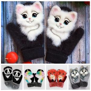 Winter Gloves Featured Animals Cat Dog Panda Design Cute Warm Outdoor Mittens Hairy Kid Women Mittens Gloves LJJP781
