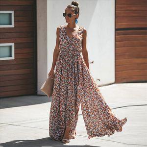 Jastie Mulheres Vestido Verão Floral Impressão Maxi Vestidos Bohemian Hippie Beach Vestido Longo Vestidos Mulheres 2021 Vestidos de Verano