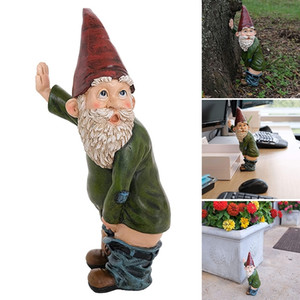 Resin Naughty Garden Gnome Statue Christmas Dress Up DIY Garden Decoration Resin Gnome Decor Christmas Gift 201125
