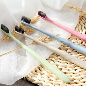 Soft Bamboo Charcoal Toothbrush Eco Friendly Wheat Straw Toothbrush Portable Hotel Home Travel Tooth Brush Oral Care 4 Colors FWF2157
