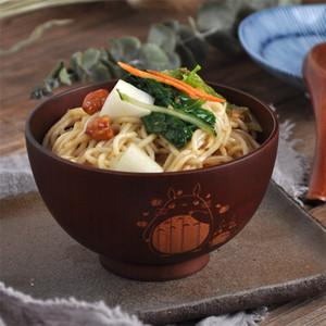 1PC японский стиль Деревянная чаша мультфильм Тоторо Чаша суп Салат Rice Noodle Чаши Натуральный мармелад Дети Оригинал Дерево Чаша Посуда C1005