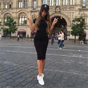 Zsiibo Bayan Elbise Vestido Kısa Kollu Ince Bodycon Elbise Tunik Ekip Boyun Casual Kalem Yeni Varış Damla Shipping1