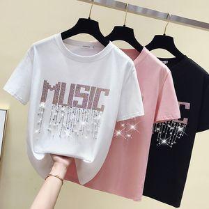 gkfnmt verano camiseta mujer rebordear letra rosa camiseta femme vintage camiseta femenino manga corta algodón blanco Tshirt Tops F1230