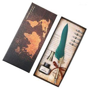 Advanced retrô natural de pena de pena definir pena pena de penas de papel conjunto de quill tither frasco de tinta vazia r251