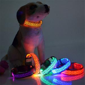 Adjustable LED Light Glow Pet Collar Leopard Nylon Pet Dog Collars Night Safety Luminous Flashing Necklace Glowing Neck Belt
