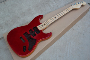 Real Pictures 6 strings Semi-finished Red Body Electric Guitar with Flame Maple Neck,Maple Fingerboard,offer customize