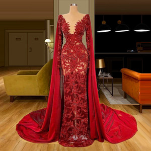 Sparkly Red Beaded Evening Dresses with Wrap Lace Appliqued V Neck Prom Gowns See Through Dubai Sexy vestido de novia