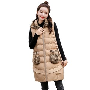 Autumn Winter New Women Slim Sleeveless Jacket Hooded Warm Medium and Long Section Down Cotton Vest Simple Outwear