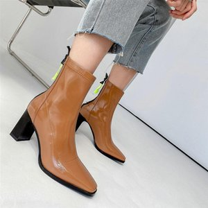 Concise Top 2020 Winter Women's Ankle Boots Platform Round Toe Thick Heels Pumps Newest Wedding Party Shoes Woman Heels