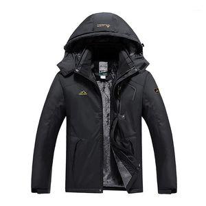 Мужские пуховые Parkas мужчины утолщенные ветрозащитный горный куртка зимний теплый толстый флис выщелачивается пальто с капюшоном для женщин спортивный дождь лыжная мода 1