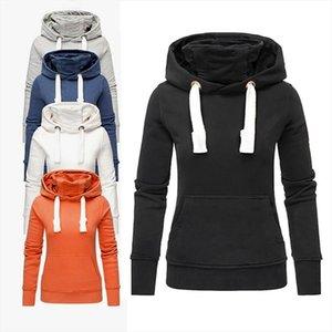 Hoodies Women Ladies Solid Hooded Turtleneck Long Sleeve Sweatshirt Pullover Tops Shirt Sudadera Mujer Drop Shipping