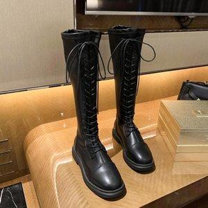 2020 осени и зима черных женщины ботинок женщина растягиваться laceup загрузочного рыцаря тепла и модно все-матчевые платформы обуви