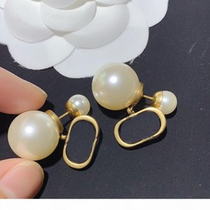 Gold Charm Earrings for Woman Pearl Shape Earrings High Quality Brass 925 Silver Pin Earrings Fashion Jewelry Supply