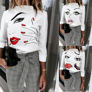 Moda Outono Mulheres Tops Casual Padrão manga comprida cara 3D O Neck Magro Mulheres Camisetas Mulheres roupas de grife 2020