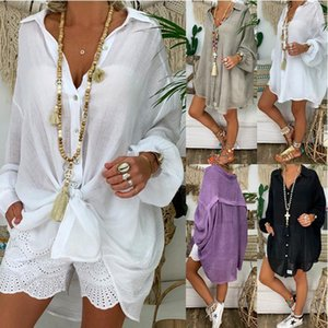 Women Summer Autumn Long-Sleeve V Neck Oversized Blouse Plain Button Down Tops Bohemian Holiday Beachcover Bikini Cover Up1