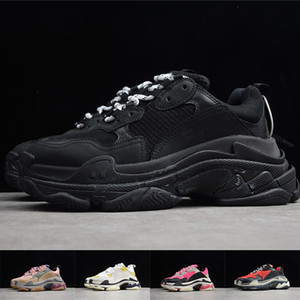 Mens Paris Triple S Trainers Women 17FW Sneakers Old Dad Shoes Platform Black White Casual Trainer Retro Ladies Designer Shoes