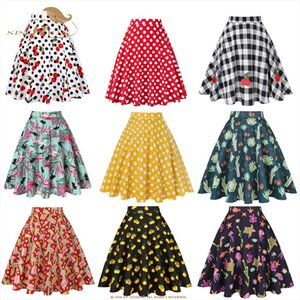 Vintage Skirts Womens Vd0020 Jupe Femme 2020 High Waist Cotton Swing Women Skirt Black Plaid Faldas Summer Skirt