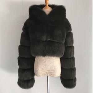 Jane Deiune 2021 New Winter Women Faux Pelliccia con cappuccio Cappotto con cappuccio Lady Elegante Giacca Solida Giacca Corta Imitazione Fashion Outwear