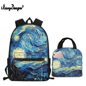 NOISYDESIGNS Gogh Set School Bags Starry Sky Printing Students Teenagers Book-Bag Children Backpack Boys Laptop Mochila