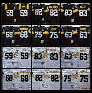 Vintage 59 Jack Ham 63 Dermontti Dawson 68 LC Greenwood 75 Joe Greene 82 John Stallworth 83 Heath Miller jersey del fútbol bordado AB1