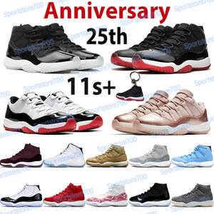 Jumpman 11 11s Zapatillas de baloncesto Hombre High Sports Trainers 25 aniversario Concord 45 BRED Space Jam Pantone Baja leyenda Blue Women Sneakers