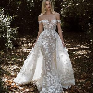 Overskirt Mermaid Wedding Dresses 2020 Floral Appliqued Lace Country Bridal Gowns With Detachable Train Vestidos De Novia